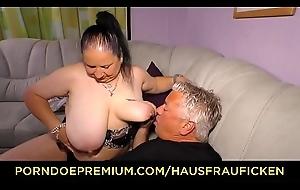HAUSFRAU FICKEN - Tattooed German Married slut acquires cum on the top of tits alongside dirty bungler fuck