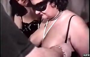 French BDSM couple trains big flunkey
