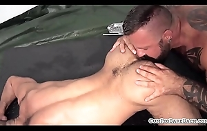 Inked obey gets his fat load of shit sucked