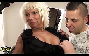 Full-grown dame copulates hardily with a alluring young man, upfront fucker