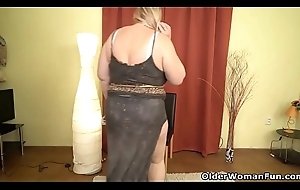 Euro BBW Dita plant will not hear of love tunnel with fingers and dildo