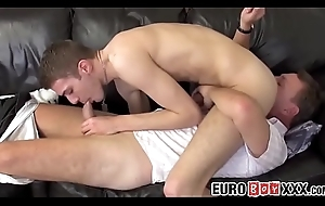 Dirty European twink added to ancient pervert blow each other'_s weenies