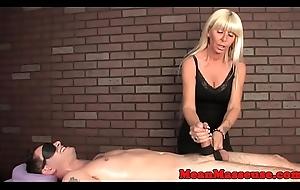 Cum controlling masseuse strokes permanent cock