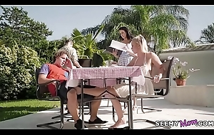 Neighbour spying insusceptible to my family picnic! - Bailey Brooke added to Reagan Foxx