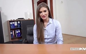 Long-haired Ukrainian generalized acquires anally screwed in a difficulty office